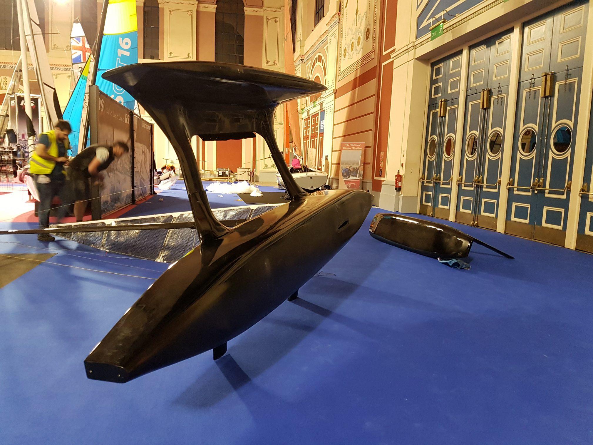 Flying Mantis on side Dinghy Show